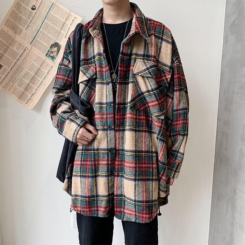 Winter Thickening Woolen Shirt Men Fashion Retro Casual Woolen Jacket Man Streetwear Loose Woolen Coat Men Long Sleeve Shirt