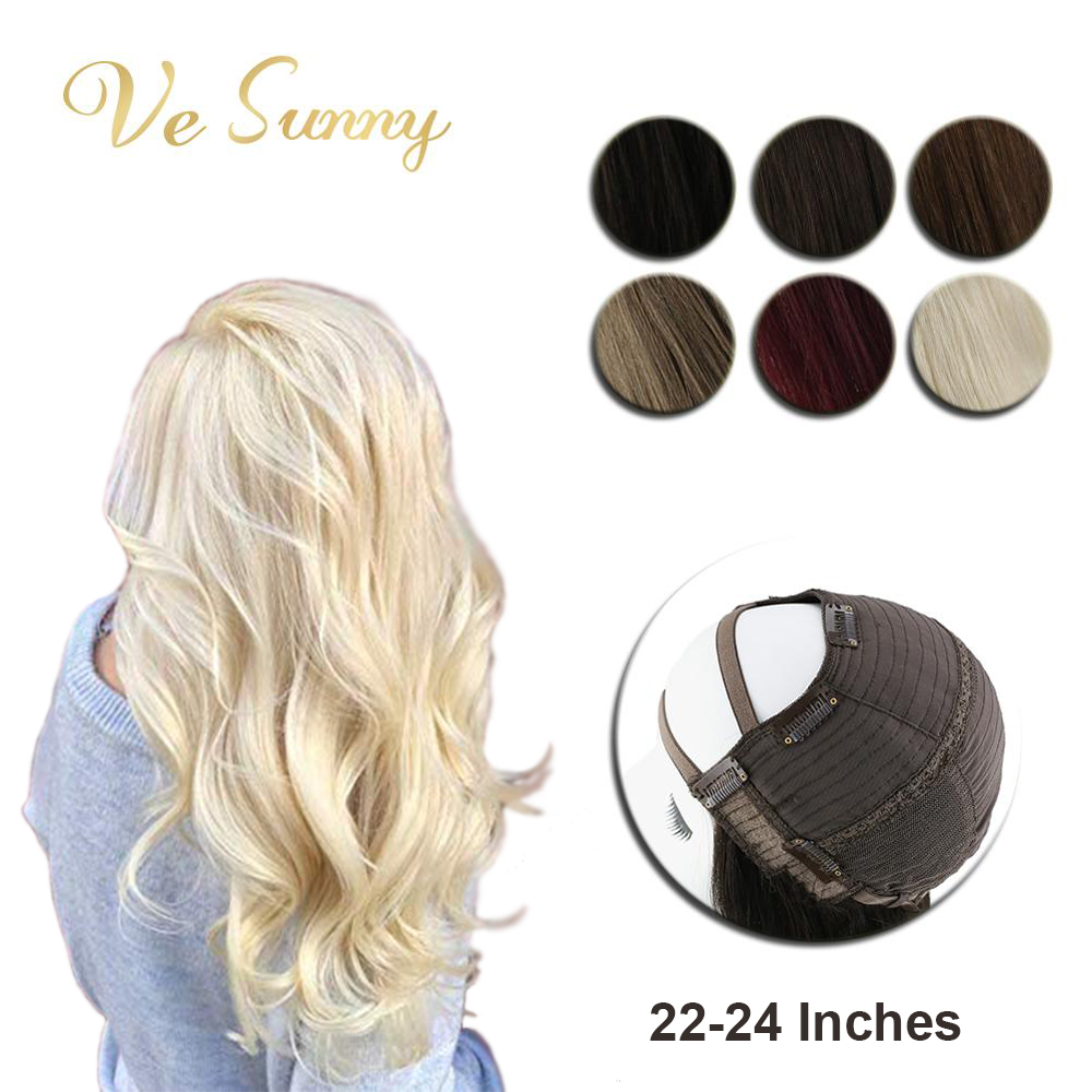 VeSunny U Part Half Wig 100% Real Human Hair With Clips On Solid Color Black Brown Blonde Long Length Hair 22-24inches 180 Gram