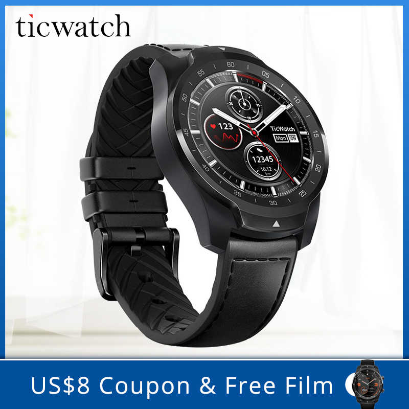 Asli Ticwatch Pro Bluetooth Smart Watch IP68 Berlapis Tampilan Dukungan Pembayaran NFC/Google Asisten Wear OS By Google 415 MAH