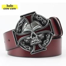 Punk Rock Metal Skull Head Gesp Mannen Riem Lederen Cowboy Riemen Voor Heren Koeienhuid Riem Ceinture Homme Cinto Masculino