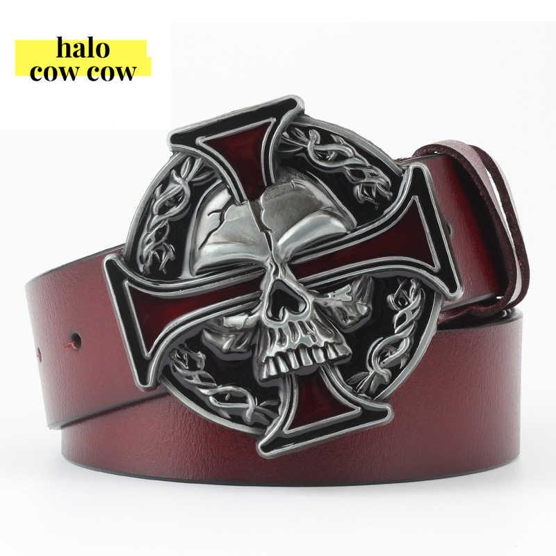 Punk Rock Metal kafatası kafa toka erkekler kemer hakiki deri kovboy erkekler için kemerler Cowskin kayış Ceinture Homme Cinto Masculino