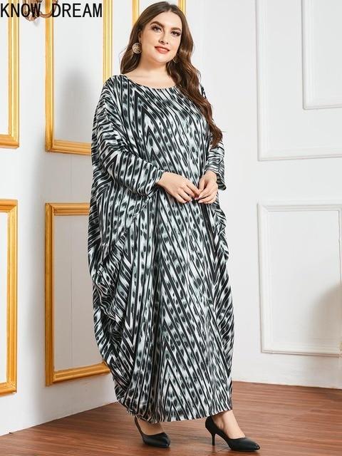 KNOW DREAM Plus Size Dress Large Size Oversized Loose Printed Bat Long Sleeve Robe Muslim Women Dress Woman Dress 4