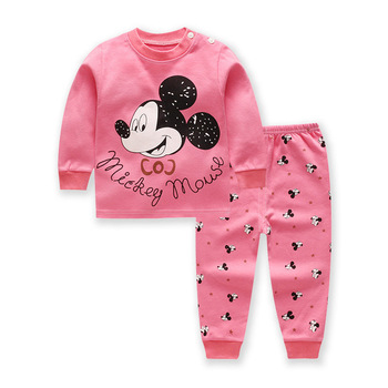 Baby Clothes Set Winter Cotton Newborn Baby Boys Girls Clothes 2PCS Mickey Baby Pajamas Unisex Kids Clothing Sets 0-2year
