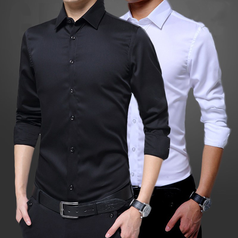 Hot Mens Long Sleeve Shirts Dress Up Professional Shirt Simple Men's White Slim Fit Shirts Solid Color Men Business Dress Shirt