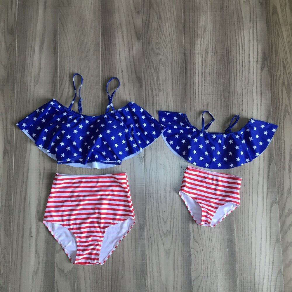 Mom Daughter Swimsuit Baby Girl July 4th Swimsuit Mom Me Summer Fashionable Swimsuit