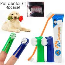 4Pcs Dog Teeth Cleanser Dog Teeth Cleaning Kit Three Sided Pet Toothbrush Toothpaste Finger Toothbrush For Puppy Cats(China)