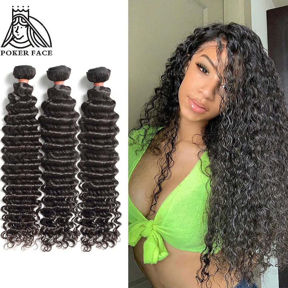 Poker Face Deep Wave 8-30 Inch Brazilian Non Remy Hair Nature Color 100% Human Hair Weaving Water Weave 3 4 Bundles Double Drawn