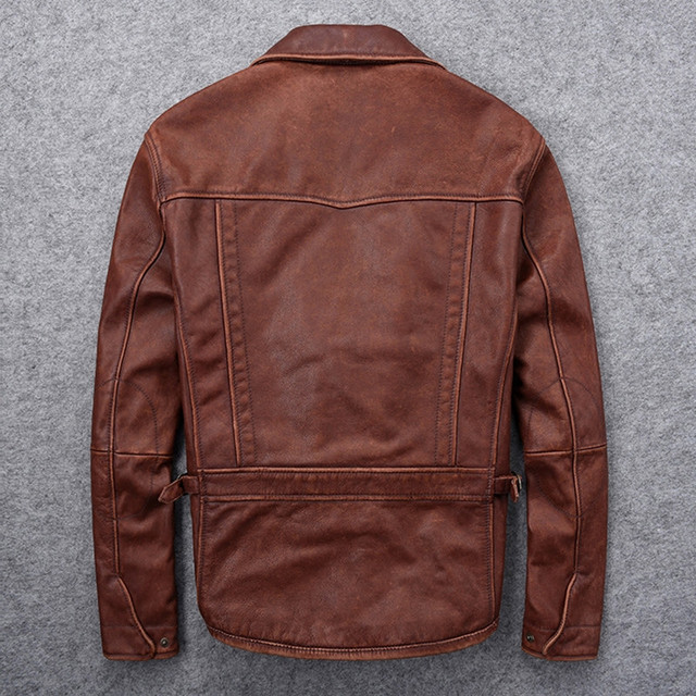 2020 Dark Brown Men American Casual Style Leather Jacket Large Size XXXL Genuine Cowhide Autumn Slim Fit Natural Leather Coat