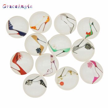 10-50pcs 8 10 12 15 18 25 30mm Mixed Round Glass Pattern Cabochon Women Jewelry High Heel Shoes TrendyFlatback Photo Dome Cameo image