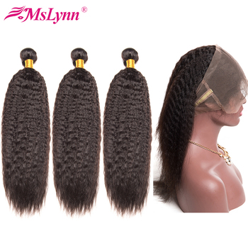Mslynn 360 Lace Frontal With Bundle Kinky Straight Hair 3 Bundle Deals Peruvian Hair Bundles With Closure Human Hair Remy image