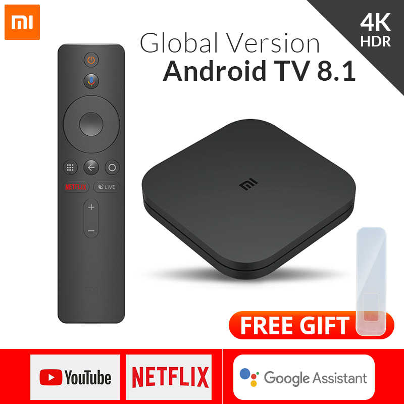 Versão global xiaomi mi caixa de tv s android 8.1 4 k hdr 2g 8g wifi google elenco netflix media player controle inteligente conjunto caixa superior bt4.2