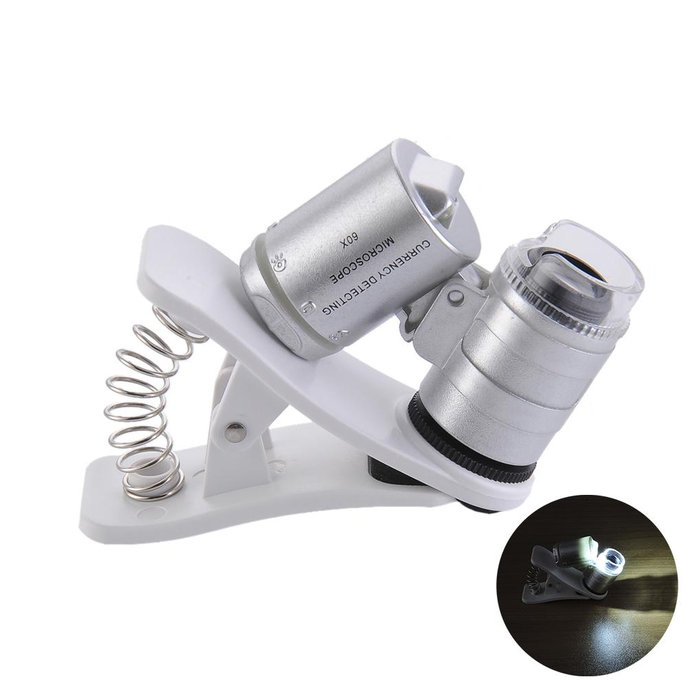 60X Mini High Definition Lupe Handy Reparatur Mikroskop Mit Clip Led UV Lichter Lupe 60 Mal image