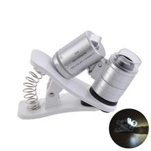 60X Mini High Definition Magnifier Mobile Phone Repair Microscope With Clip Led UV Lights Magnifying Glass 60 Times