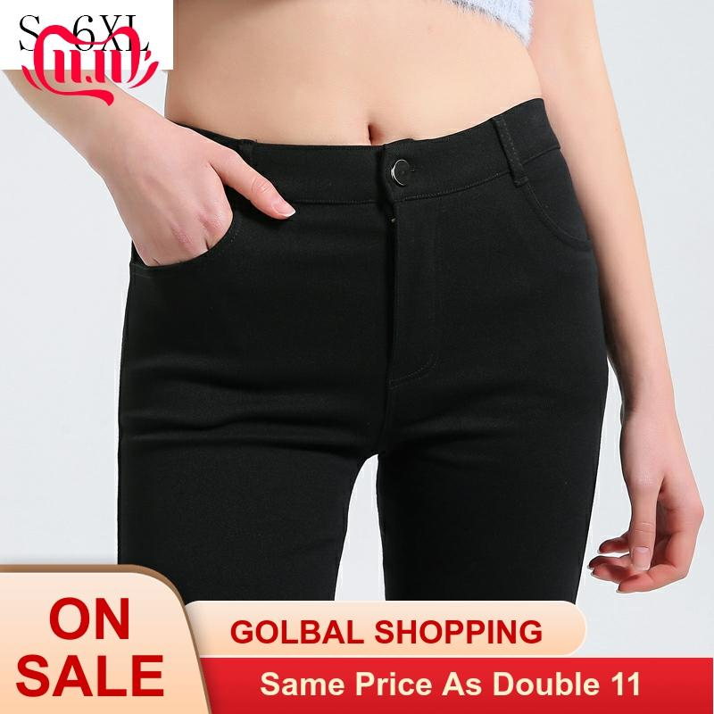 Plus Size 6XL Women Pants Spring Fashion Solid Color Skinny High Waist Elastic Black Leggings Lady Pencil Pants Slim Trousers