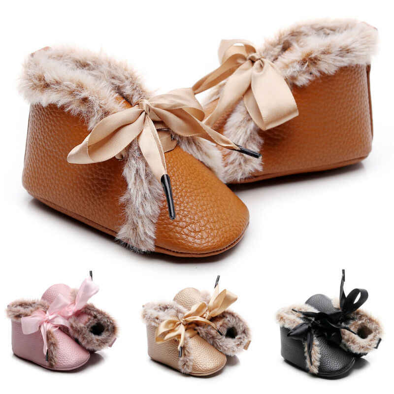 2020 Baby Winter Warm First Walkers Little Boys Girls Child Bandage Shoes Fuzzy PU Leather Soft Sole Anti Slipped Plush Shoes