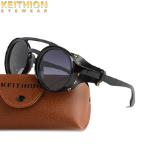 KEITHION Brand Steampunk Retro Round Sunglasses Men Steam Punk  Polarized Women Shield Windproof Eyeglasses UV400