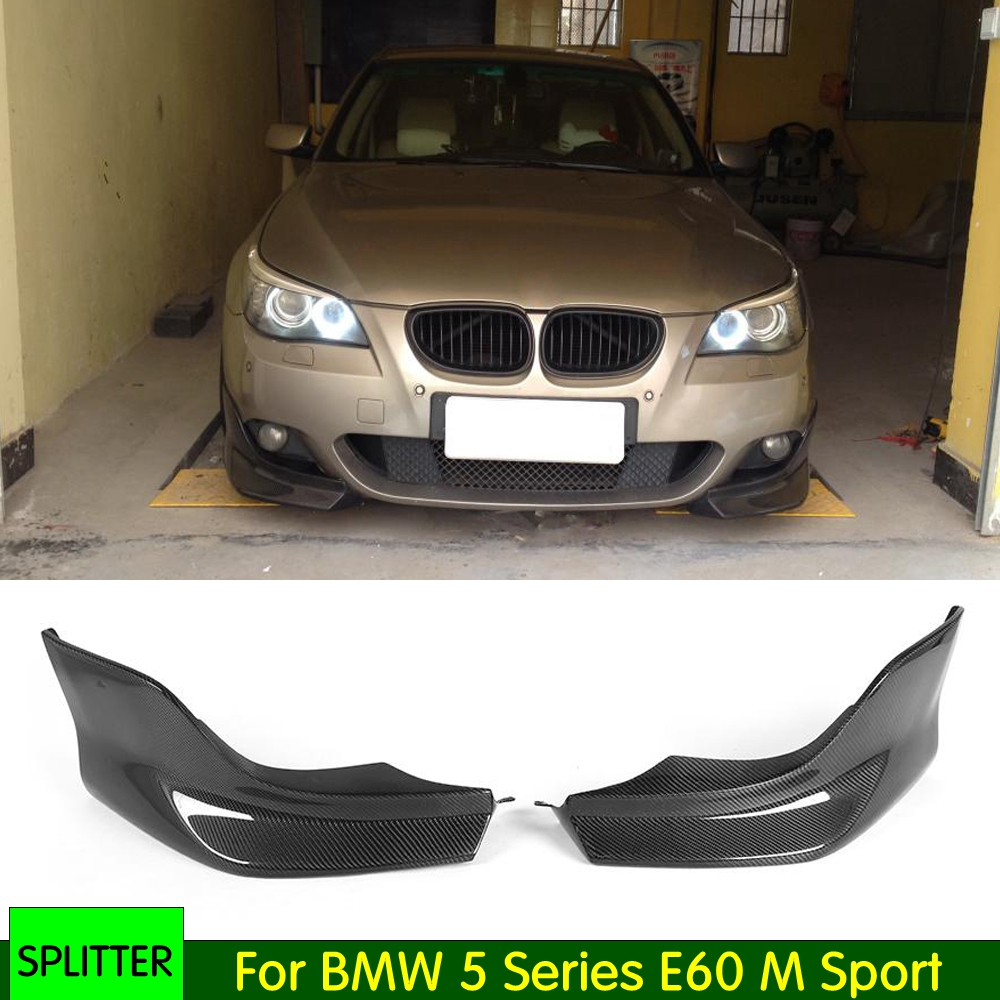 2PCS/Set Carbon Fiber Front Bumper Lip Splitters Apron Flaps For BMW <font><b>5</b></font> Series E60 M Sport 2003-2009 image