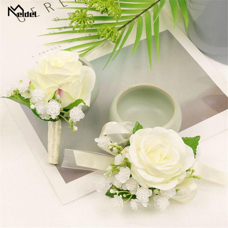 Meldel Silk Roses White Wedding Corsages And Boutonnieres Groomsmen Bridesmaids Wrist Bracelet Wedding Men Boutonniere Flowers