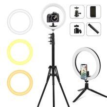 Pode ser escurecido led selfie anel de luz com tripé luz de preenchimento usb anel lâmpada grande fotografia ringlight com suporte para tiktok youtube