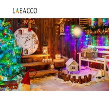 Laeacco Dreamy Christmas Tree Themed Clock Wooden House Light Party Photo Backgrounds Photography Backdrops For Studio