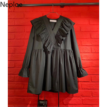 Neploe Ruffles Pleated Dress Women Fashion V Neck Flare Sleeve Ladies Vestidos Summer 2021 Loose Casual Female Dresses 1C456