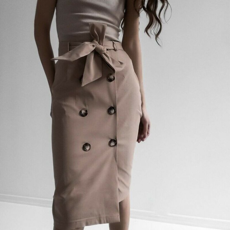 High Waist Split Midi Skirts Women Lace Up Button Solid Casual Chic Autumn Skirt Sexy High Fashion Boho Bandage Skirts