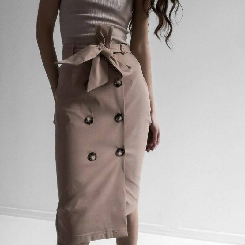 High Waist Split Midi Skirts Women Lace Up Button Solid Casual Chic Autumn Skirt Sexy High Fashion Boho Bandage Skirts