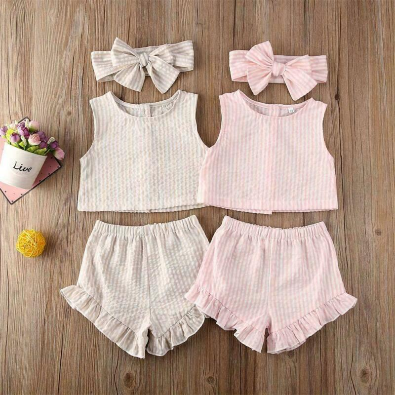 New Arrival Summer 3PCS Toddler Kids Baby Girls Outfit Clothes Birthday T-shirt Tops+Short+Headband Children Striped Outfits