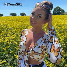 HEYounGIRL Tie Up Butterfly Long Sleeve Tshirt Women Deep V