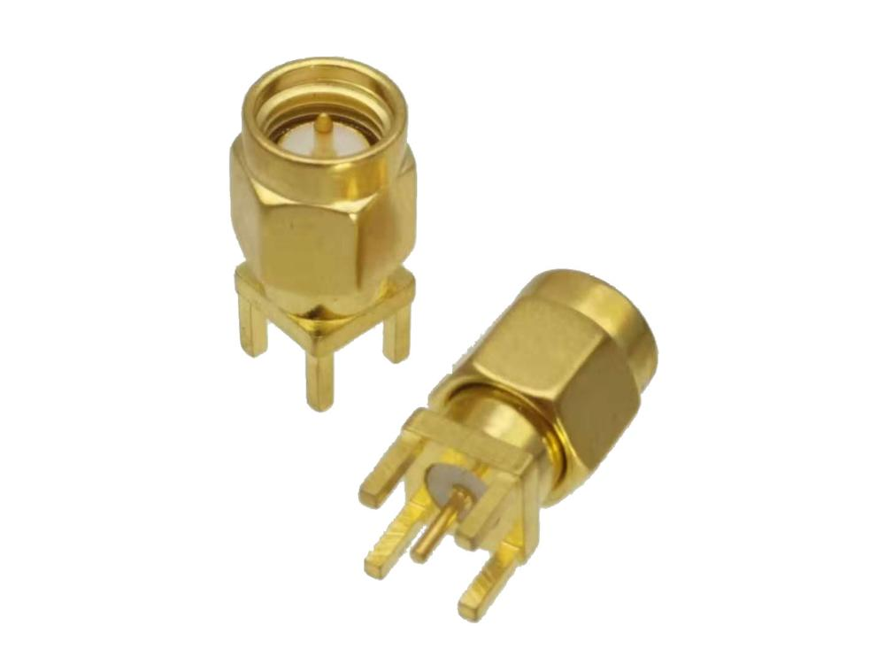 Connector SMA Male Plug Solder PCB Mount Straight RF Coaxial