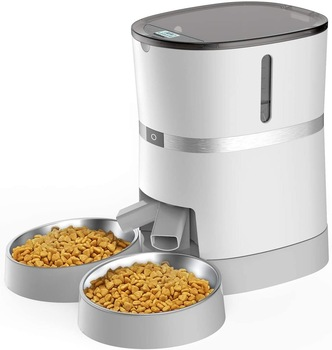 Best Automatic Pet Feeder for Cat And Small Dog with Two-Way Splitter and Double Bowls 6 Meals with Portion Control