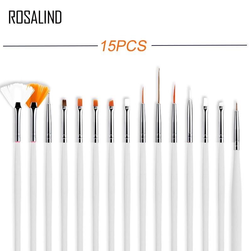ROSALIND 15PCS/set  Nail Tools Nail Brush Dotting Painting Drawing Pen Nail Art Brush Gel Polish Brushes Tools Gel Painting Pen