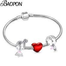 2021 nowe romantyczne serce emalia Charm bransoletki z kolorem srebrnym Boy & Girl koraliki bransoletki dla kobiet biżuteria walentynki