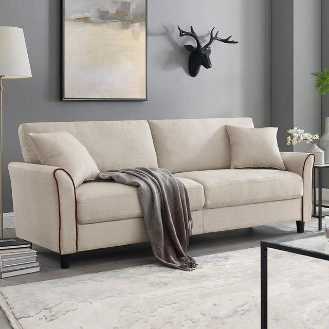 Tribesigns Mid-Century Upholstered 85 Inch Sofa Couch, Modern Linen Fabric Couch for Small Space 1