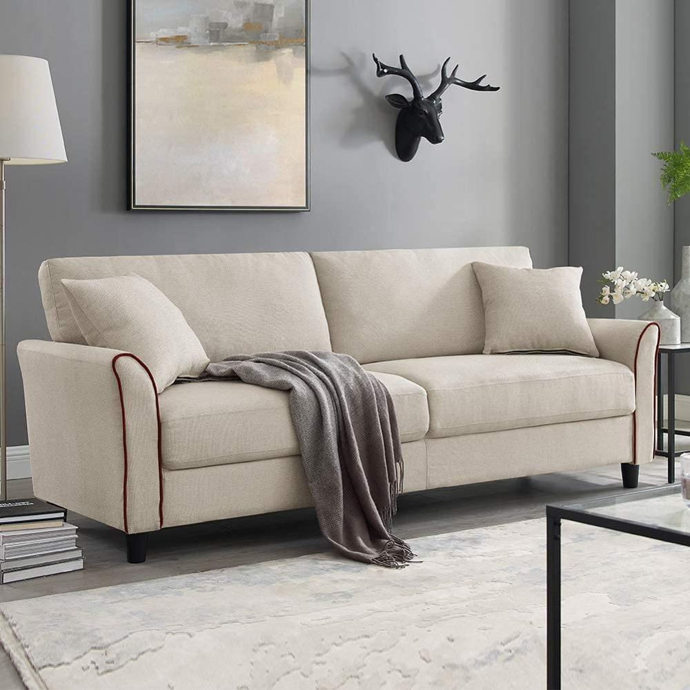 Tribesigns диван с обивкой в середине века, 85 дюймов, современный льняной диван для небольшого пространства