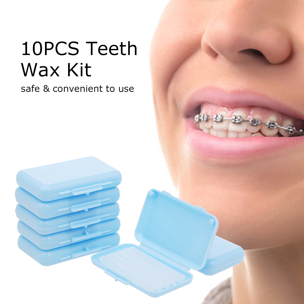 10PCS Teeth Wax Kit Pain Relief for Orthodontic Braces Wearers 1 Box of 5 Strips Dental Wax for Oral Care 3
