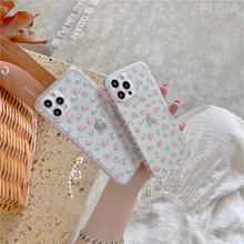 Side Print Pink Flower Clear Cute Phone Case for iPhone 12 mini 11 Pro Max 7 8 Plus X XR XS Max SE 2020 Back Cover Soft Coque