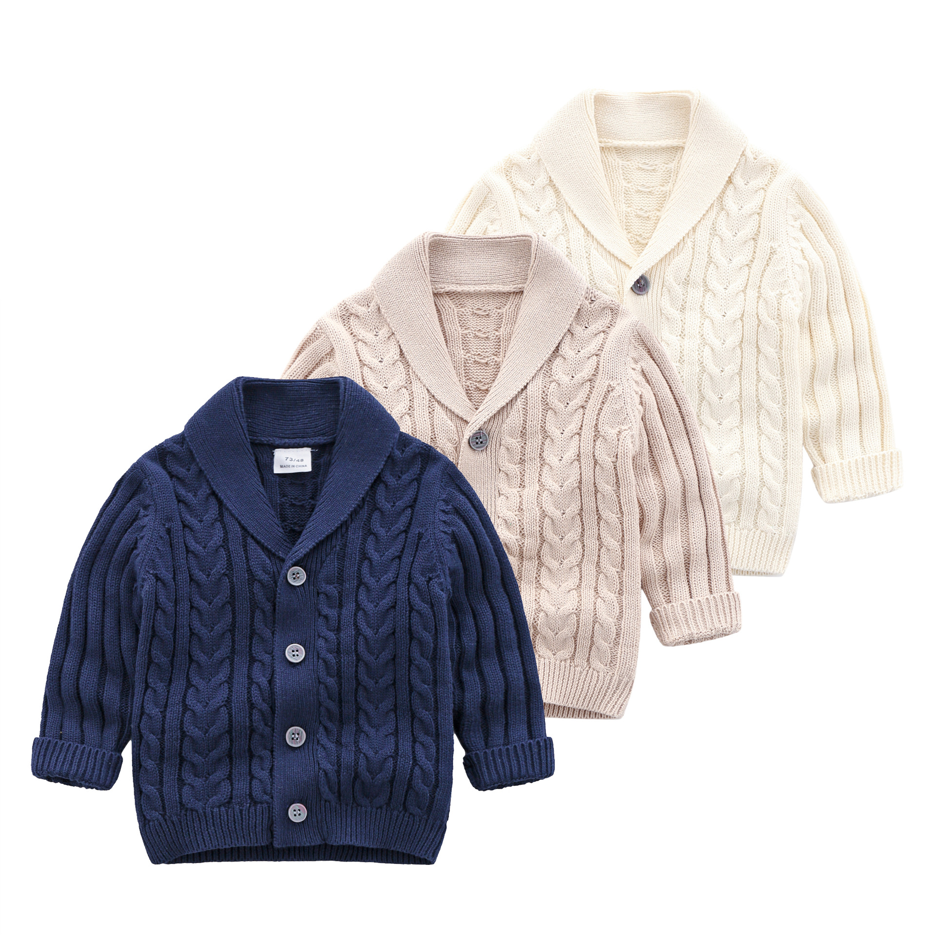 1-4T Baby Boys Spring Autumn Cardigan Sweater V-Neck Buttons Pockets Cotton Tops