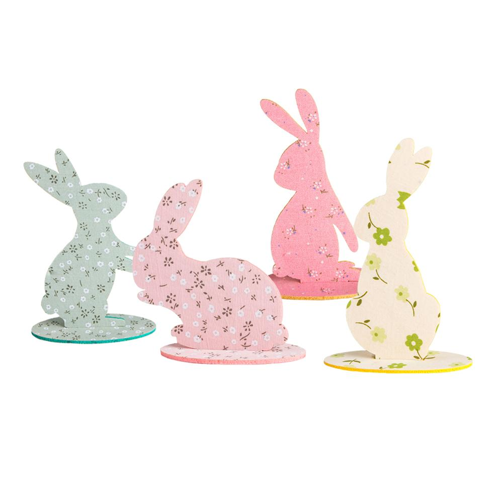 4pcs Easter Bunny Table Centerpiece Felt Decorations With Flowers Multi-color Rabbit Party Decorations Spring Home Decor