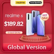 Realme 6 NFC küresel sürüm 4GB 128GB cep telefonu 90Hz ekran Helio G90T 30W flaş şarj 64MP kamera telefon Android telefonlar