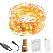 Luces de hadas con pilas USB Twinkle String Light DIY boda fiesta tarros botella Navidad decoraciones Garland lámpara(China)