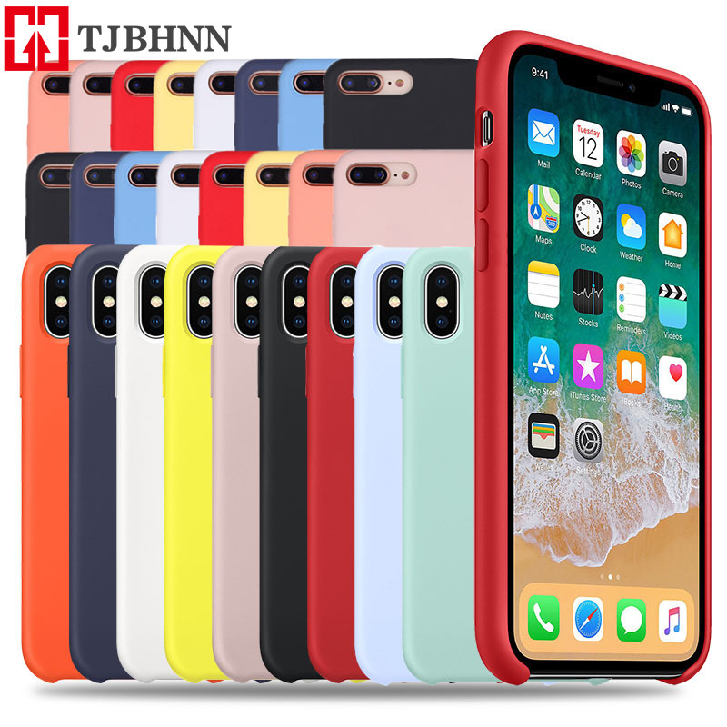 Luxury <font><b>Original</b></font> Silicone Phone <font><b>Case</b></font> For <font><b>iphone</b></font> 7 8 Plus For Apple Cover For <font><b>iPhone</b></font> 6 <font><b>6S</b></font> Plus X XS MAX XR 7 8 No Logo <font><b>Cases</b></font> image