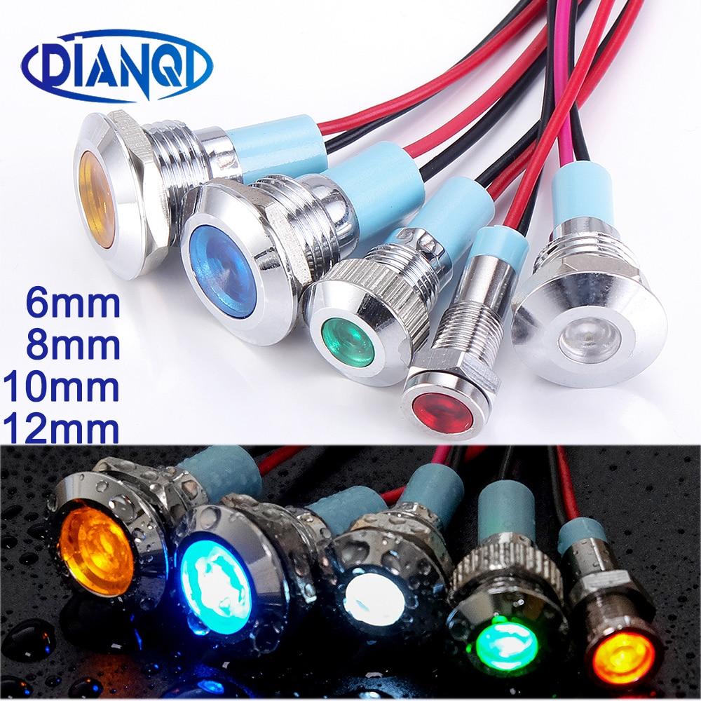 6 мм 8 мм 10 мм 12 мм металлический светодиодный Предупреждение индикатор светильник Водонепроницаемый IP67 сигнальная лампа пилот провода пере...