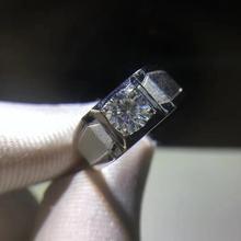 Okrągły srebrny Moissanite pierścień 0.80ct D VVS luksusowe Moissanite ślub pierścień dla mężczyzn