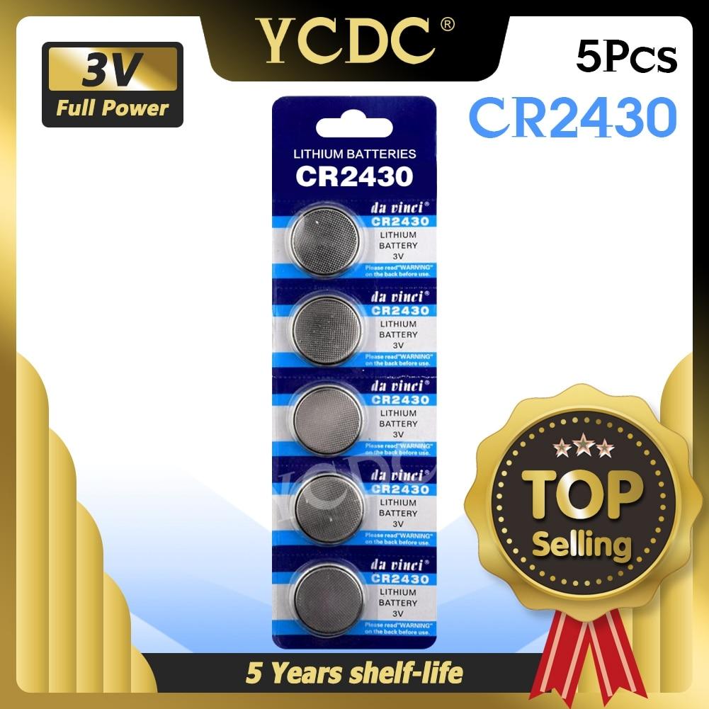 YCDC, лидер продаж, 5 шт., литиевые монетные элементы 3 в, Кнопочная батарея CR2430 DL2430 BR2430 ECR2430 KL2430 EE6229