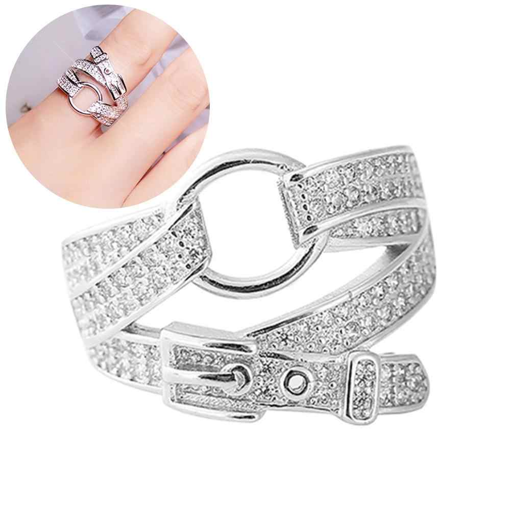 Lady Cubic Zirconia Inlaid Belt Buckle Finger Ring Adjustable Party Jewelry Gift