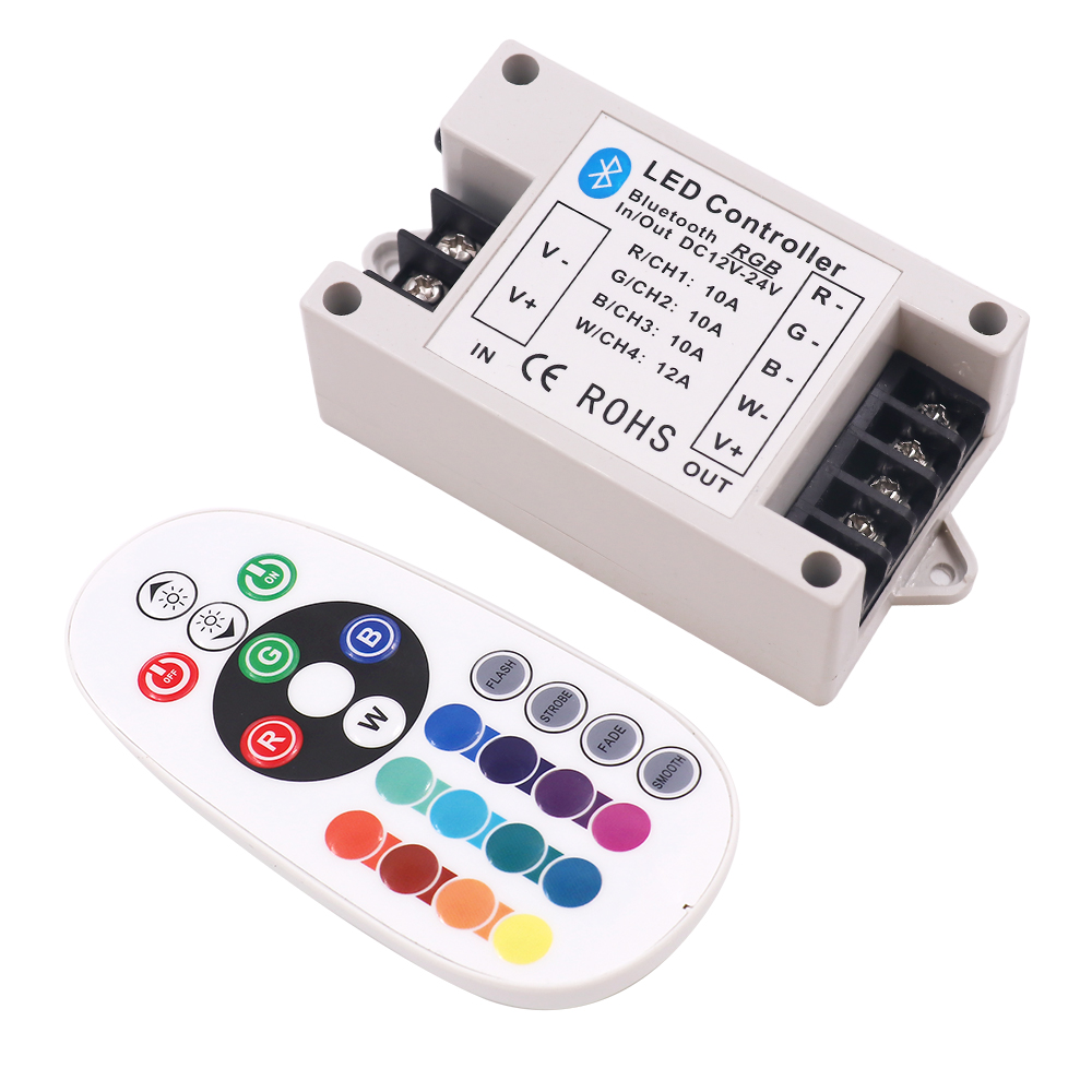 30A/42A RGB/RGBW Bluetooth Led Controller 24Key IR Remote Big Power 360W BT Controller For RGBW/RGB Strip Light DC12-24V
