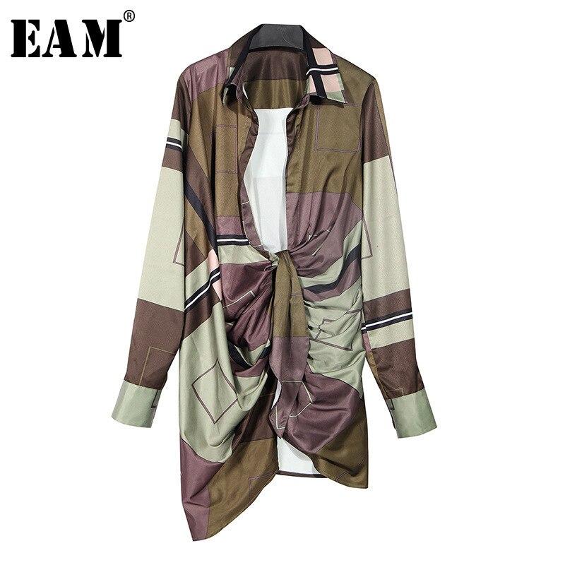 [EAM] Women Pattern Printed Asymmetrical Pleaed Dress New V-Neck Long Sleeve Loose Fit Fashion Tide Spring Autumn 2020 1D462