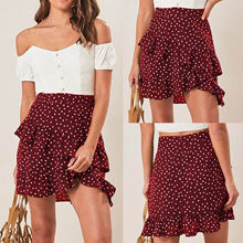 Women Sexy High Waist Skirt Red Polka Dot Printed Ruffled Women Skirt Warp Skirt Mini Skirt Bodycon Skirt(China)
