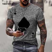 Brief Ace Of Spades Print Voor Mannen T-shirts Mode Korte Mouw Plus Size Trui Top Toevallige Harajuku O-hals Oversized t-shirt